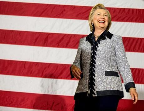 Democratic presidential candidate Hillary Clinton arrives to speak at a rally at the International Brotherhood of Electrical Workers Circuit Center in Pittsburgh, Tuesday, June 14, 2016. (AP Photo/Andrew Harnik)